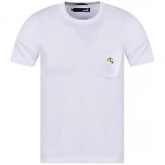 Kjærlighet Moschino Fred Lomme Hvit T Skjorte M473187E1811 A00