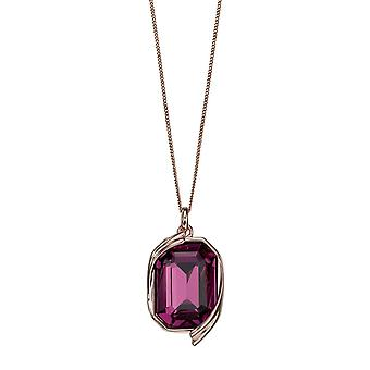 Joshua James Radiance Silver With Rose Gold Plating & Amethyst Swarovski Crystal Pendant
