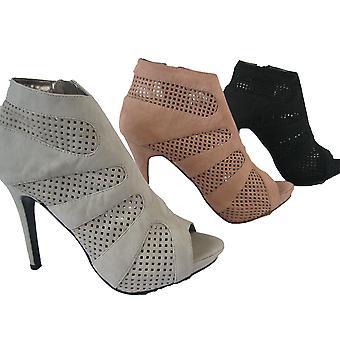 Rascal Mesh Panel Peeptoe Ankle Boots Heels