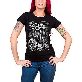 My Chemical Romance T Shirt morts défilent officiel Womens nouveau noir Skinny Fit