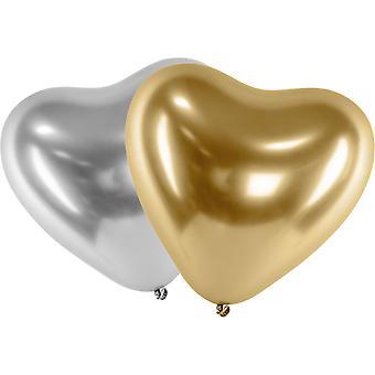Ballonger Latex Hjärta Mix Guld - Silver | Chrome Effekt 10-pack