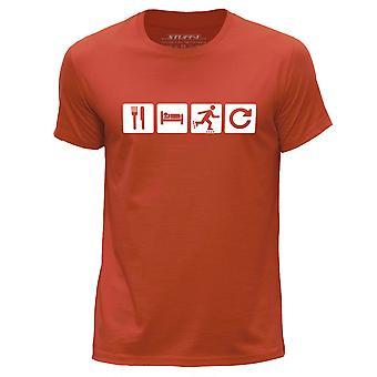 STUFF4 Men's Round Neck T-Shirt/Eat Sleep Inline Skate Repeat/Orange