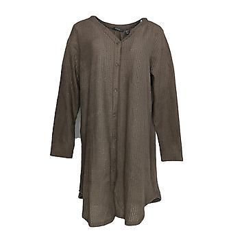Jeder Frauen's Kleid gebürstet Waffel Knopf vorne Schlafen Beige A345167
