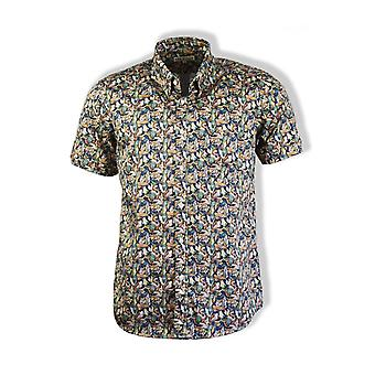 Far Afield Mod Button Down Short-Sleeved Shirt (Flamencos)