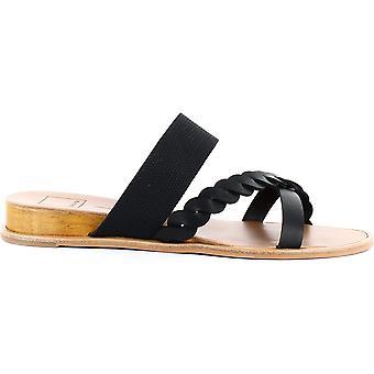 Dolce Vita Womens Penelope Leather Peep Toe Casual Slide Sandals