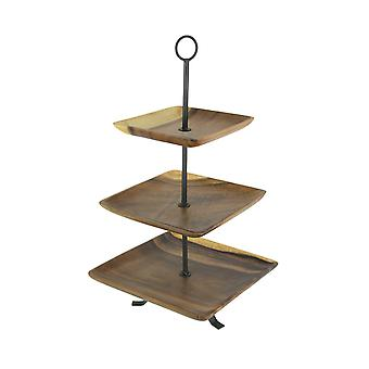 Polished Wood 3 Tier Square Shaped Serving Tray