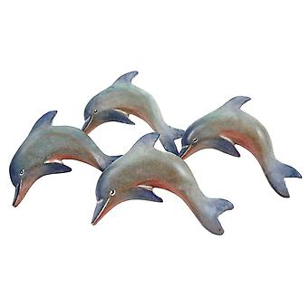 Nautical Ocean Marine Dolphin Napkin Rings Set of 4 Carved Painted Wood