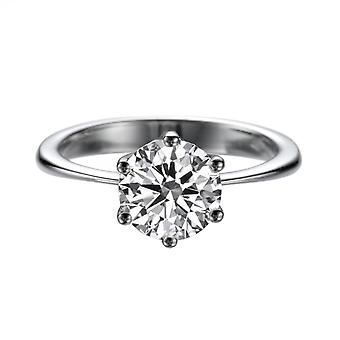 2,70 CT 9,00 MM Forever One Moissanite Verlobungsring Solitaire Classic 6 Dreizack 14 K White Gold