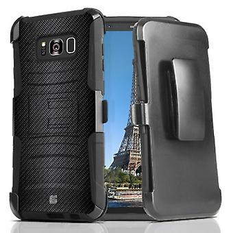 SAMSUNG GALAXY S8+ BEYOND CELL SHELL CASE ARMOR KOMBO WITH KICKSTAND - CARBON FI