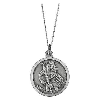 Orton West St Christopher Circle Pendant - Silver
