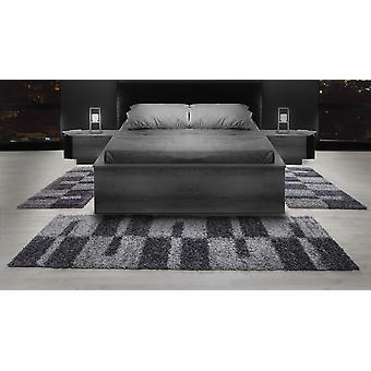 Shaggy Läuferset Hochflor Set de tapis bordure de lit gris clair gris blanc 3 set