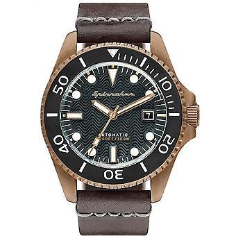 Watch Spinnaker SP-5060-02 - Tesei Bronze man black dial steel case Brown leather strap