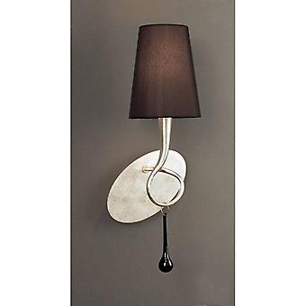 Wall Lamp Paola 1 Bulb E14, Silver Painted With Black Lampshade & Black Glass Droplets