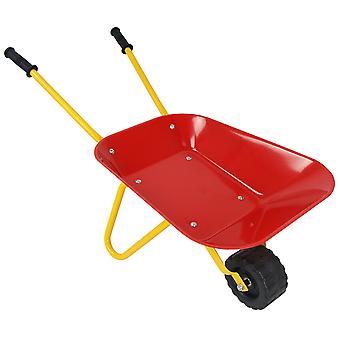 Children Metal Wheelbarrow Kids Ride on Toy Gardening Outdoor Puncture Proof Tyre