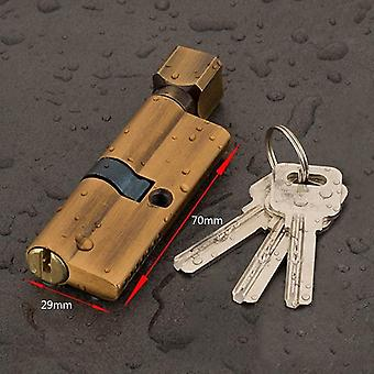Brass Ab Door Cylinder Lock Biased With 3 Keys Anti Theft Entrance - 70mm For Home Security
