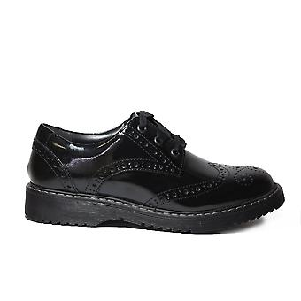Startrite Impulsive Black Verni Leather Girls Lace Up Brogue School Shoes
