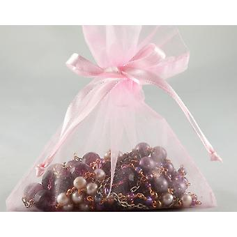 12 Small Baby Pink Organza Favour Gift Bags - 10cm x 12.5cm