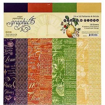 """Gráfico 45 Almohadilla de papel de doble cara 12 """"X12"""" 16 / Pkg - Fruta y Flora"""