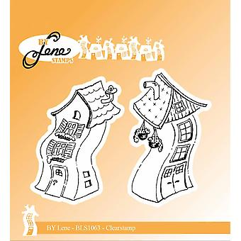 By Lene Clearstamp Crooked Houses 1
