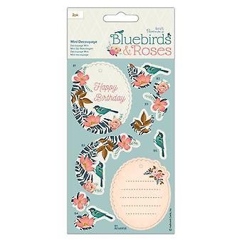 Papermania Bluebirds & Ruusut Mini Decoupage Bluebirds