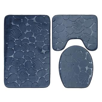 3 PCS non-slip bathroom carpet set, soft toilet seat cushion