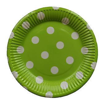 10PCS 7-inch Dot Party Paper Tray Green White Circle