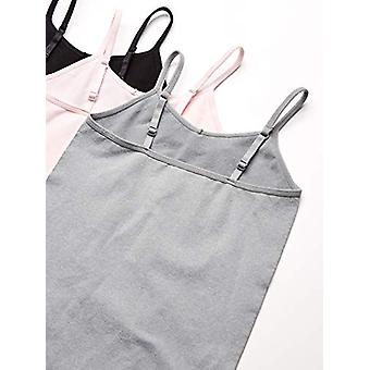 Essentials Girls' 3-Pack Seamless Camisole, Pink/Heather Grey/Black, X...