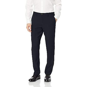 BUTTONED DOWN Men's Tailored Fit Stretch Wool Dress Pant, Navy, 32W x 34L