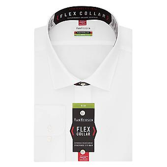 VAN HEUSEN Men's Big and Tall Flex Fit Solid Spread Collar Dress Shirt, White...