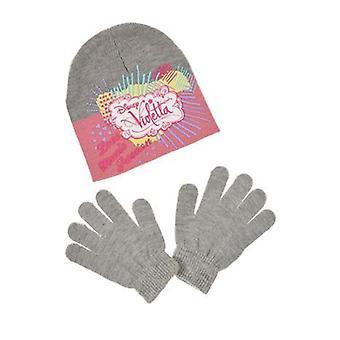 Girls Disney Violetta Winter Beanie Hat & Gloves Set