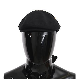 Dolce & Gabbana Black Cotton Stitched Flower Newsboy Hat HAT70108-57