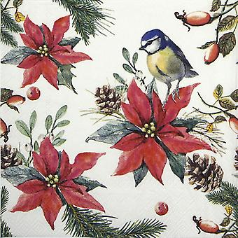 Ambiente 3 Ply Paper Napkins, Bird On Poinsettia White FSC