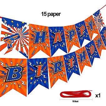 Dart War Happy Birthday Banner  For Nerf Series Blasters  For  (hb Banner)