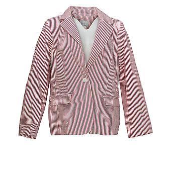 Joan Rivers Women-apos;s Suit Jacket/Blazer Long Sleeve Seersucker Red A378594