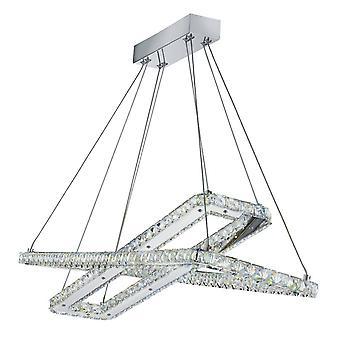 Cromo de luz colgante de techo LED integrado con cristales