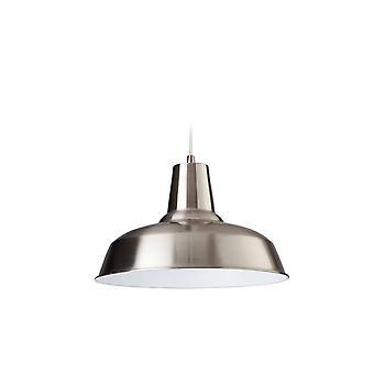 Firstlight Smart - 1 Licht Dome plafond hanger geborsteld staal, wit van binnen, E27
