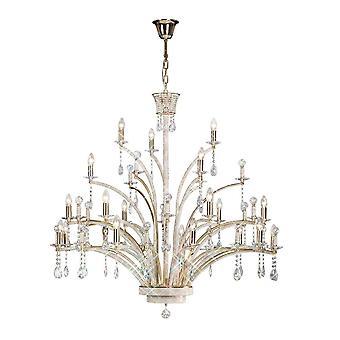 Lustre pendentif de plafond 21 lumière Français or, cristal (article exige l'assemblage)