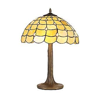 Luminosa-valaistus - 2 vaaleaa puuta Kuin pöytävalaisin E27 40cm Tiffany Shade, Beige, Kirkas kristalli, Ikääntynyt antiikki messinki