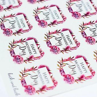 LYKKELIG MOTHERS DAY rosa blomst enkelt klistremerke ark med 35 klistremerker