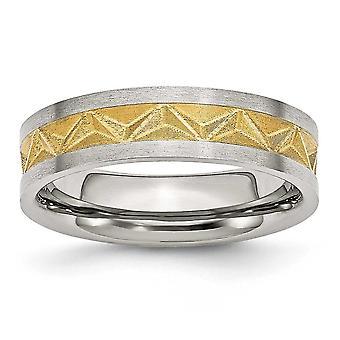 Roestvrij staal satijn en 14k verguld geborsteld gegraveerde dames 6mm band ring sieraden geschenken voor vrouwen - ring grootte: 6