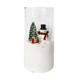Straits LED Xmas Glass Cylinder, Snowman