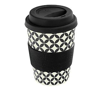 Rink Drink Bamboo Reusable Coffee Cup with Silicone Lid & Sleeve - 350ml - Retro Diamond - Black