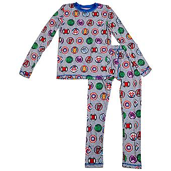 Marvel Avengers Hero Logos All Over Print Big Boys 2-Piece Pajama Set