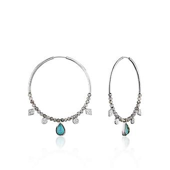 Ania Haie Silver Rhodium Plated Turquoise Labradorite Hoop Earrings E014-05H