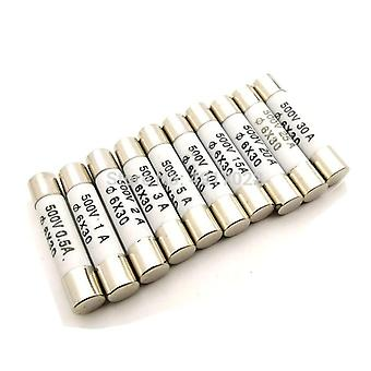 6x30mm/ 500v High Pressure Smelt To Break Fuse 0.5a 1a 2a/ 3a 4a/ 5a 6a 8a 10a/ 13a 15a 16a/ 20a 25a 30a
