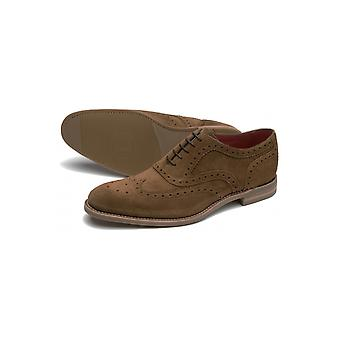Loake Design Kerridge Suede Oxford Spider Brogue Shoes Light Brown