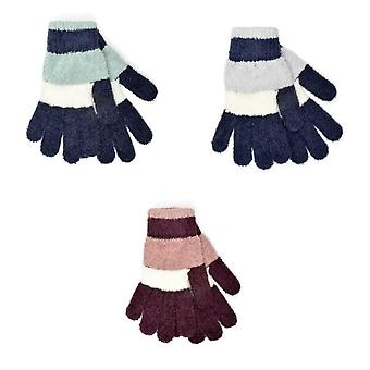 Womens/Ladies Striped Chenille Gloves