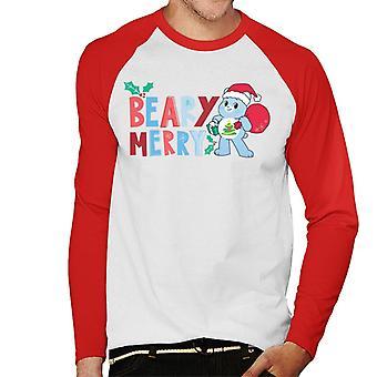 Hoitokarhut Avaa Magic Christmas Beary Merry Men's Baseball Pitkähihainen T-paita