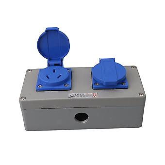 16A Metal AU Double Socket Junction Box for Industrial Accessorries Gray