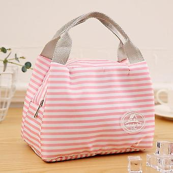 Lunch Bag Insulated Cold Stripe Picnic Carry Case Thermal Portable Lunch Box
